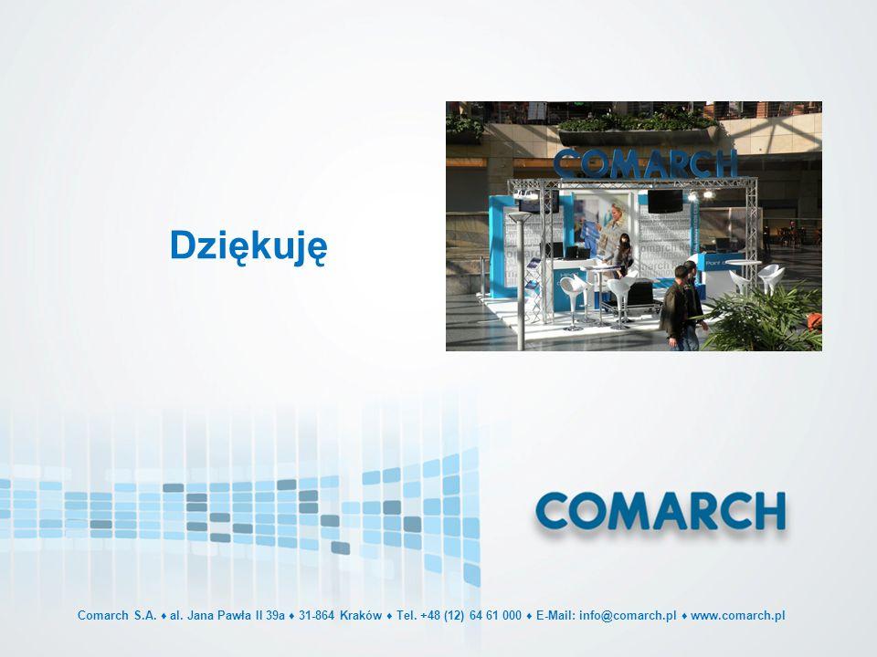 Dziękuję Comarch S.A. ♦ al. Jana Pawła II 39a ♦ 31-864 Kraków ♦ Tel. +48 (12) 64 61 000 ♦ E-Mail: info@comarch.pl ♦ www.comarch.pl