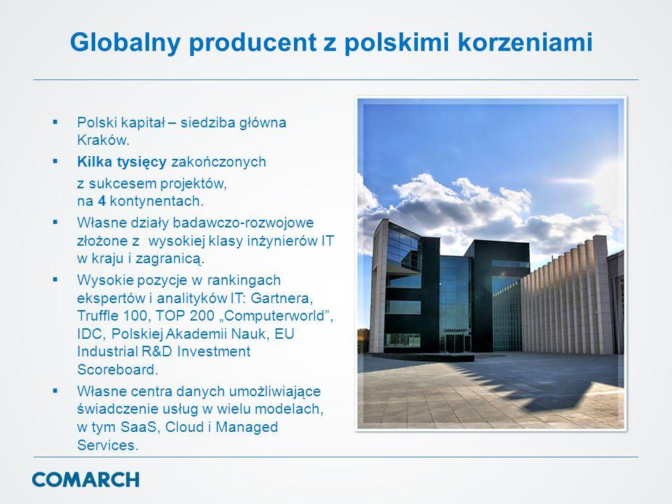 Globalny producent z polskimi korzeniami  Polski kapitał – siedziba główna Kraków.  Kilka tysięcy zakończonych z sukcesem projektów, na 4 kontynenta