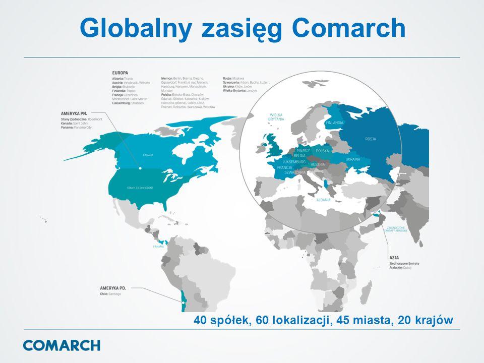 Globalny zasięg Comarch 40 spółek, 60 lokalizacji, 45 miasta, 20 krajów