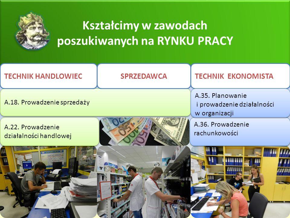 Kształcimy w zawodach poszukiwanych na RYNKU PRACY TECHNIK EKONOMISTA A.22. Prowadzenie działalności handlowej A.18. Prowadzenie sprzedaży TECHNIK HAN