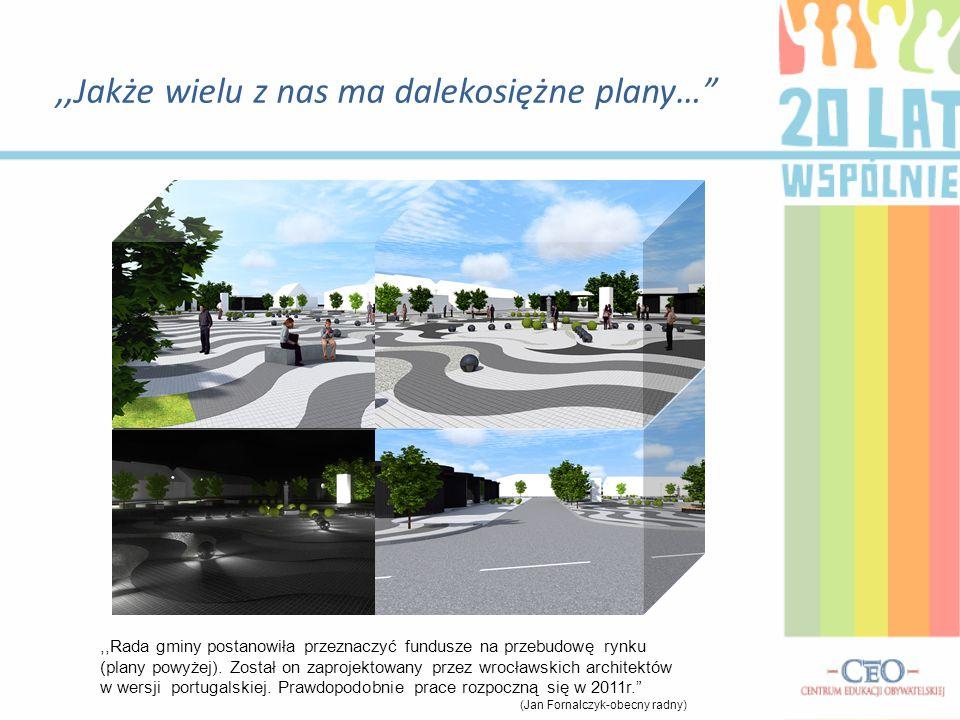 """,,Jakże wielu z nas ma dalekosiężne plany…"""",,Rada gminy postanowiła przeznaczyć fundusze na przebudowę rynku (plany powyżej). Został on zaprojektowany"""