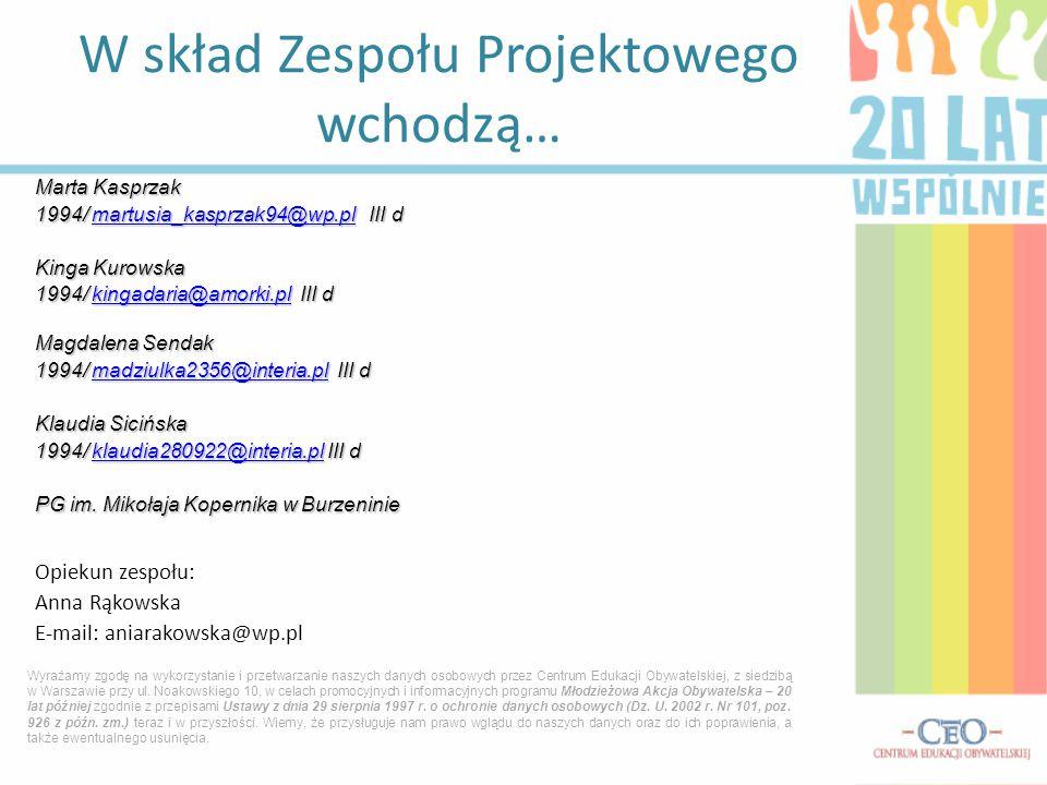 Marta Kasprzak 1994/ martusia_kasprzak94@wp.pl III d martusia_kasprzak94@wp.pl Kinga Kurowska 1994/ kingadaria@amorki.pl III d kingadaria@amorki.pl Ma