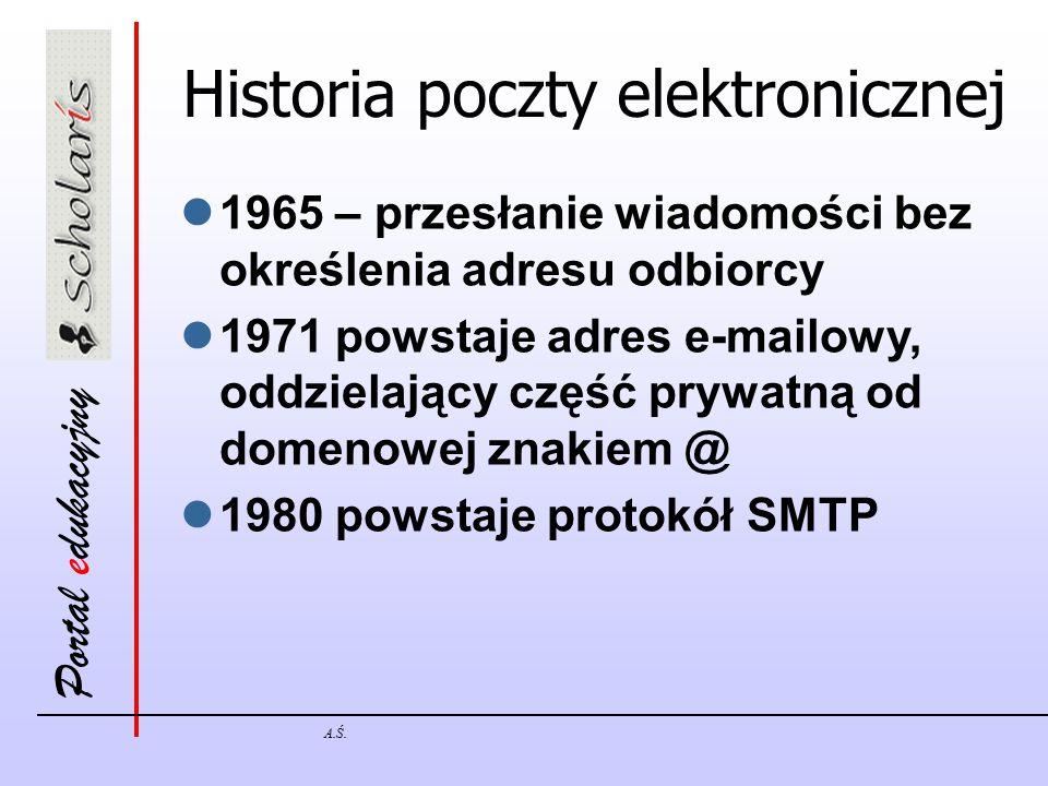 Portal edukacyjny A.Ś. Historia poczty elektronicznej 1965 – przesłanie wiadomości bez określenia adresu odbiorcy 1971 powstaje adres e-mailowy, oddzi