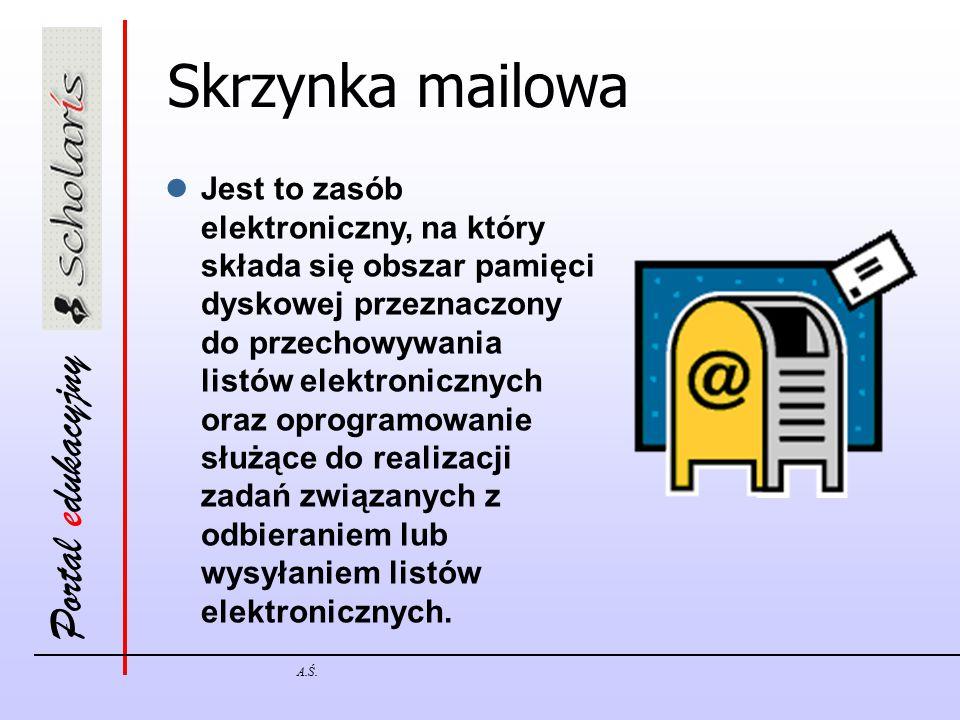 Portal edukacyjny A.Ś. Skrzynka mailowa Jest to zasób elektroniczny, na który składa się obszar pamięci dyskowej przeznaczony do przechowywania listów
