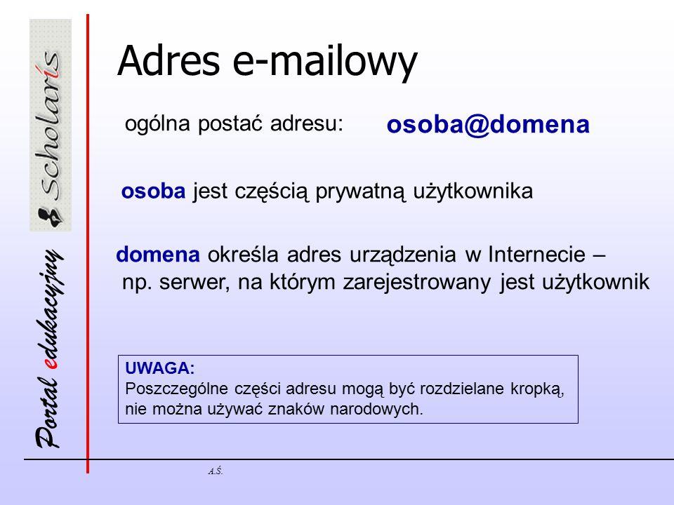 Portal edukacyjny A.Ś. Adres e-mailowy ogólna postać adresu: osoba@domena osoba jest częścią prywatną użytkownika domena określa adres urządzenia w In