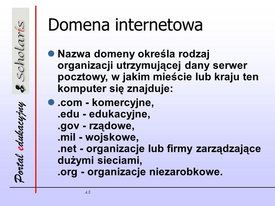 Portal edukacyjny A.Ś. Domena internetowa Nazwa domeny określa rodzaj organizacji utrzymującej dany serwer pocztowy, w jakim mieście lub kraju ten kom