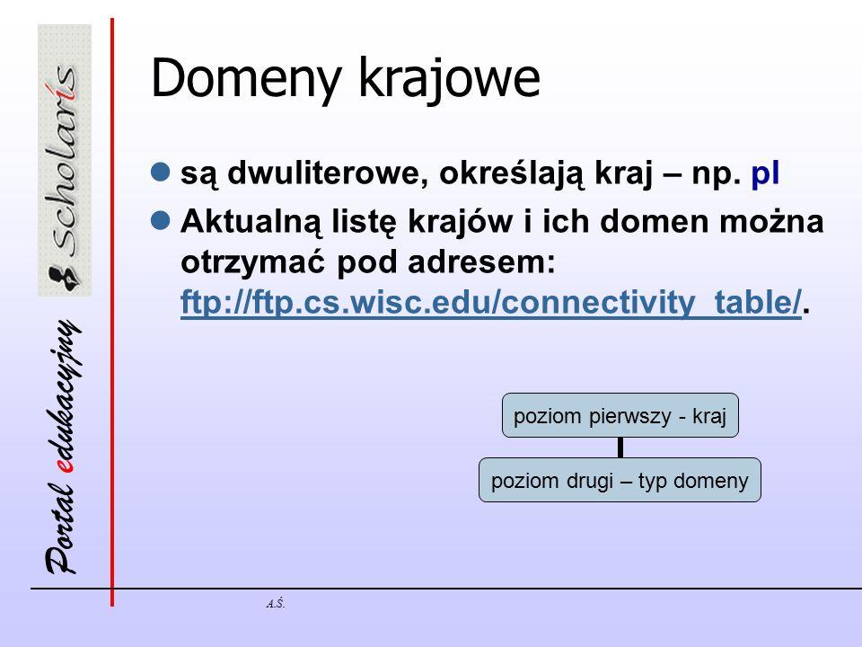 Portal edukacyjny A.Ś. Domeny krajowe są dwuliterowe, określają kraj – np. pl Aktualną listę krajów i ich domen można otrzymać pod adresem: ftp://ftp.