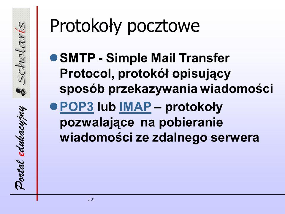Portal edukacyjny A.Ś. Protokoły pocztowe SMTP - Simple Mail Transfer Protocol, protokół opisujący sposób przekazywania wiadomości POP3 lub IMAP – pro