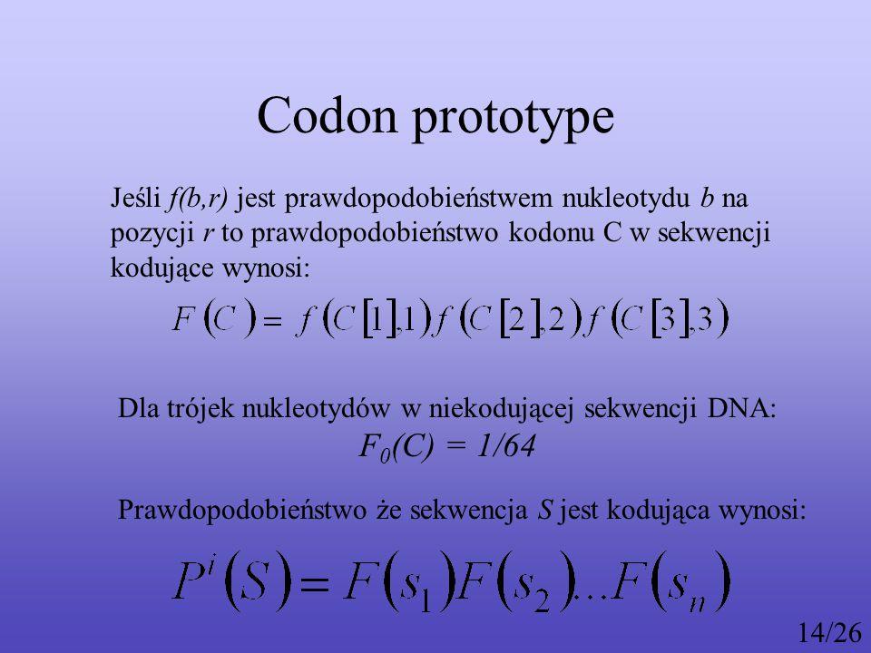 Codon prototype Jeśli f(b,r) jest prawdopodobieństwem nukleotydu b na pozycji r to prawdopodobieństwo kodonu C w sekwencji kodujące wynosi: Dla trójek nukleotydów w niekodującej sekwencji DNA: F 0 (C) = 1/64 Prawdopodobieństwo że sekwencja S jest kodująca wynosi: 14/26