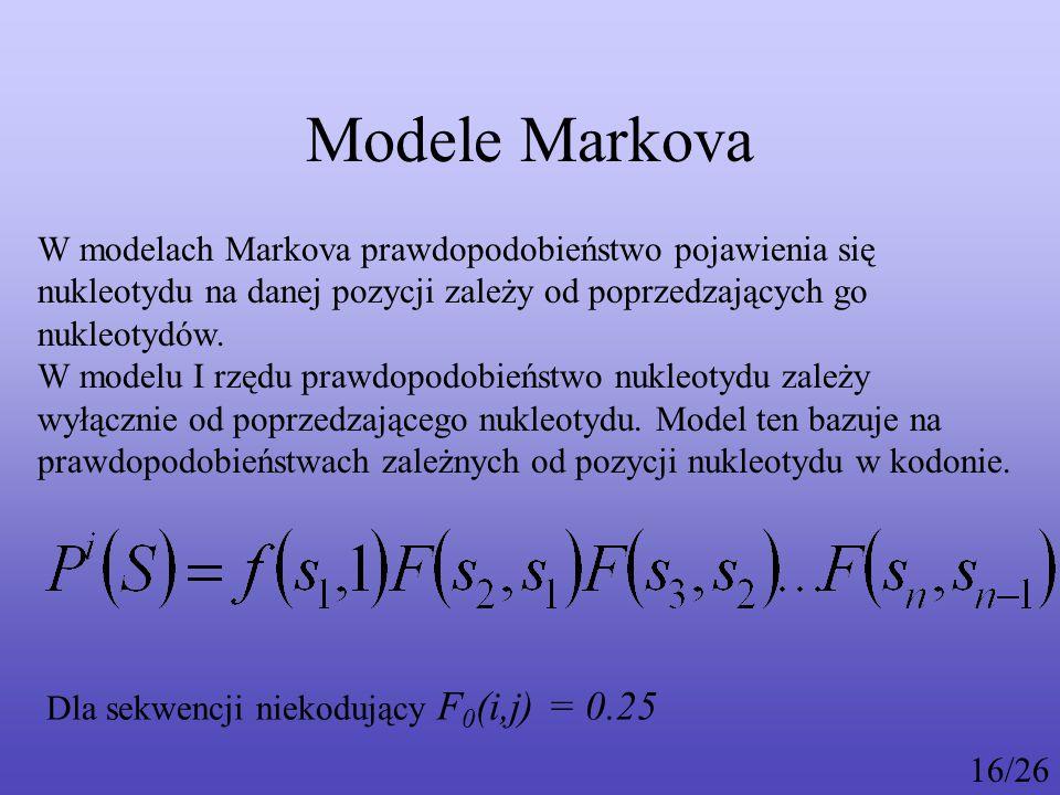 Modele Markova W modelach Markova prawdopodobieństwo pojawienia się nukleotydu na danej pozycji zależy od poprzedzających go nukleotydów.