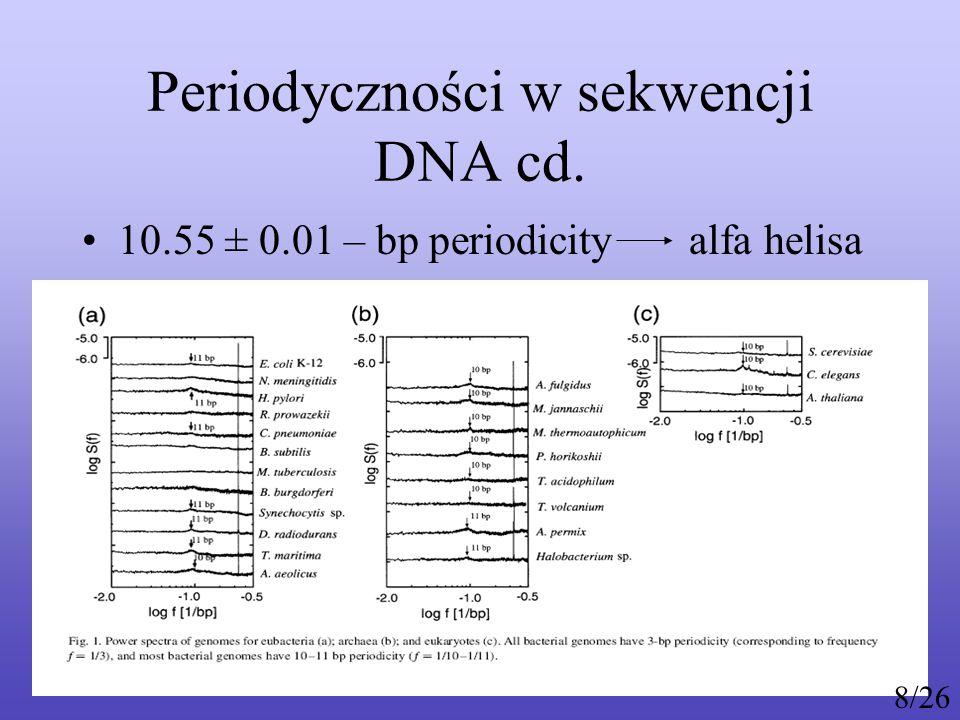 Periodyczności w sekwencji DNA cd. Inne specyficzne periodyczności 9/26