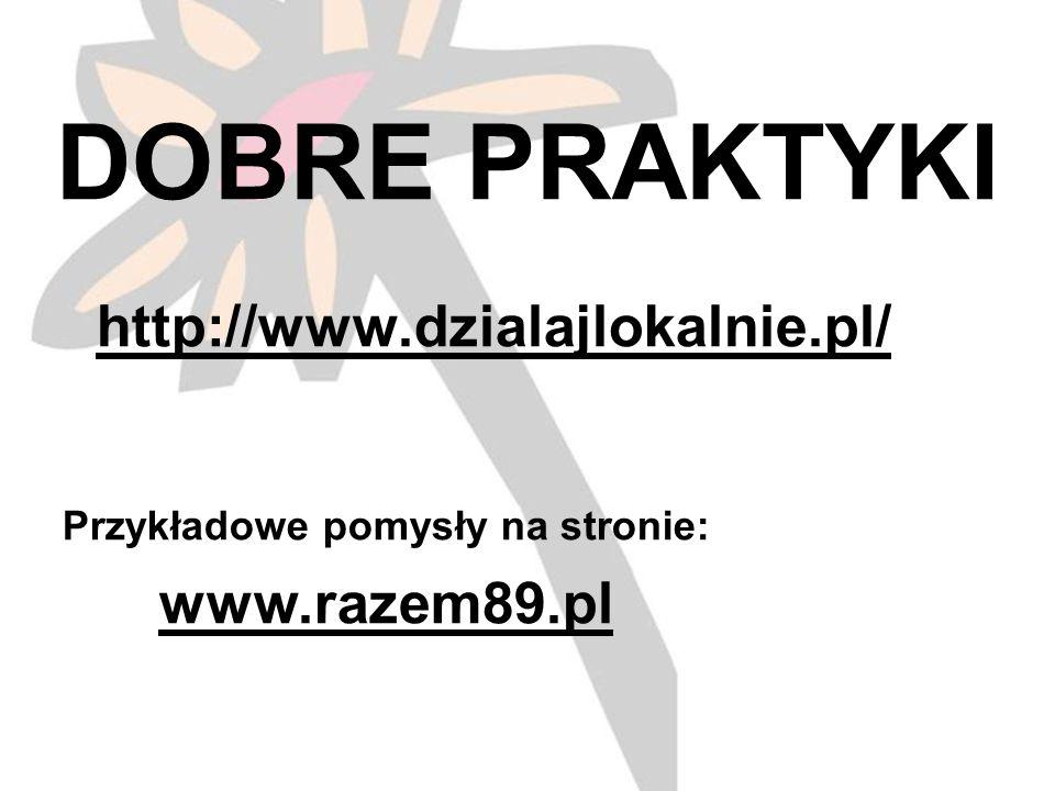 DOBRE PRAKTYKI http://www.dzialajlokalnie.pl/ Przykładowe pomysły na stronie: www.razem89.pl