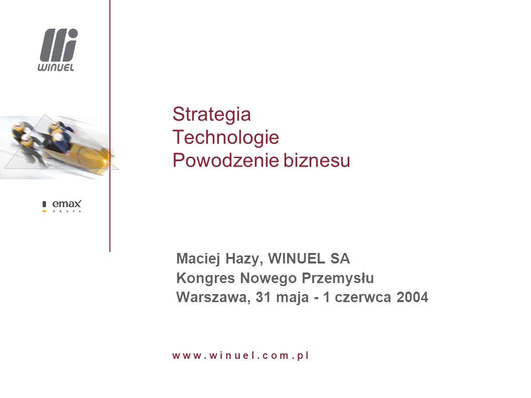 Strategia Technologie Powodzenie biznesu Maciej Hazy, WINUEL SA Kongres Nowego Przemysłu Warszawa, 31 maja - 1 czerwca 2004