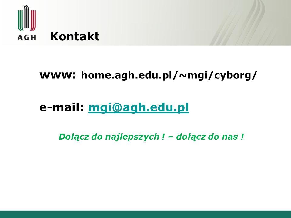 Kontakt www: home.agh.edu.pl/~mgi/cyborg/ e-mail: mgi@agh.edu.plmgi@agh.edu.pl Dołącz do najlepszych ! – dołącz do nas !