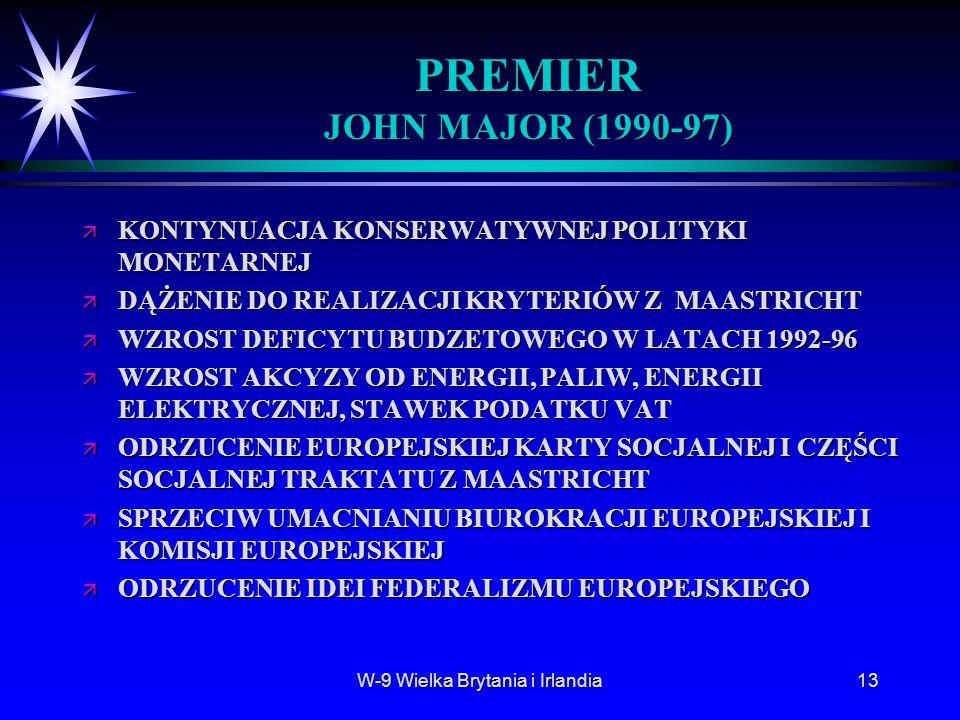 W-9 Wielka Brytania i Irlandia13 PREMIER JOHN MAJOR (1990-97) ä KONTYNUACJA KONSERWATYWNEJ POLITYKI MONETARNEJ ä DĄŻENIE DO REALIZACJI KRYTERIÓW Z MAA