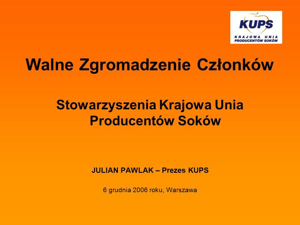 Walne Zgromadzenie Członków Stowarzyszenia Krajowa Unia Producentów Soków JULIAN PAWLAK – Prezes KUPS 6 grudnia 2006 roku, Warszawa