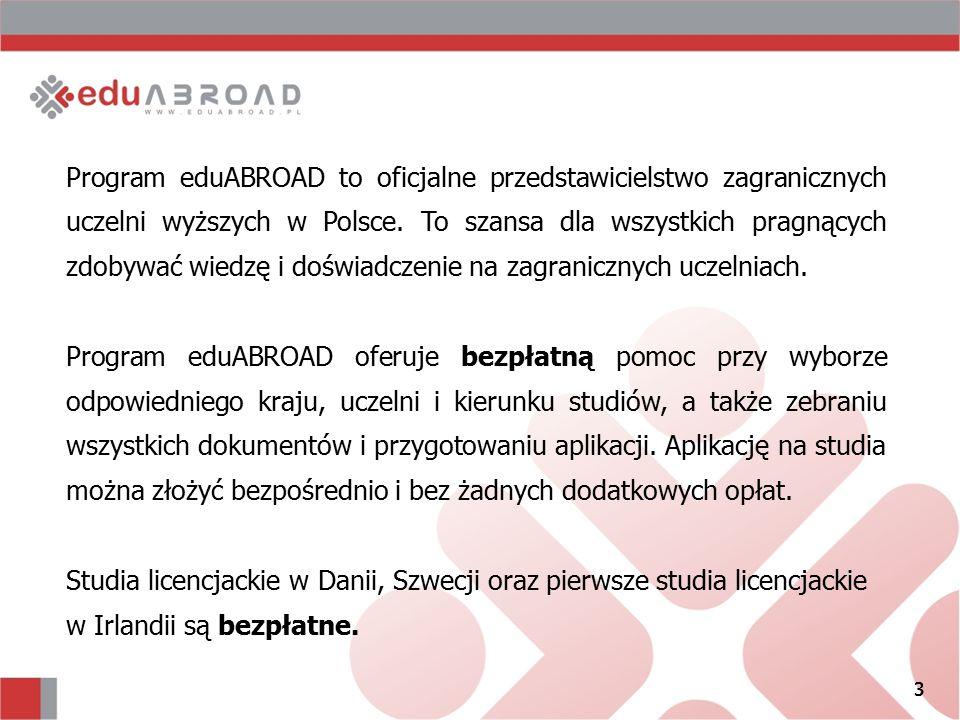 3 Program eduABROAD to oficjalne przedstawicielstwo zagranicznych uczelni wyższych w Polsce. To szansa dla wszystkich pragnących zdobywać wiedzę i doś