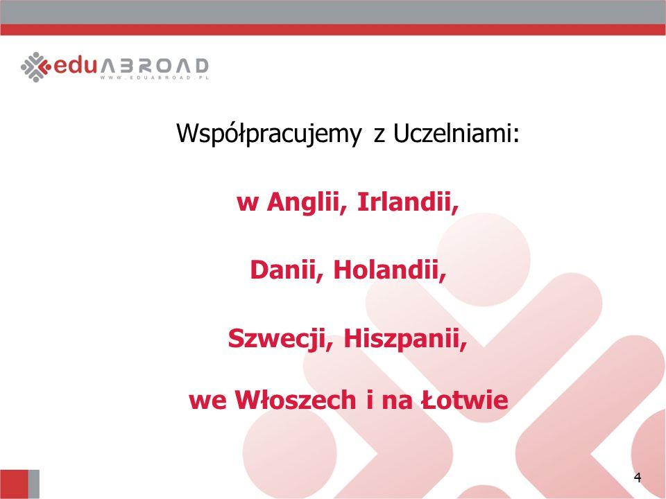 4 Współpracujemy z Uczelniami: w Anglii, Irlandii, Danii, Holandii, Szwecji, Hiszpanii, we Włoszech i na Łotwie