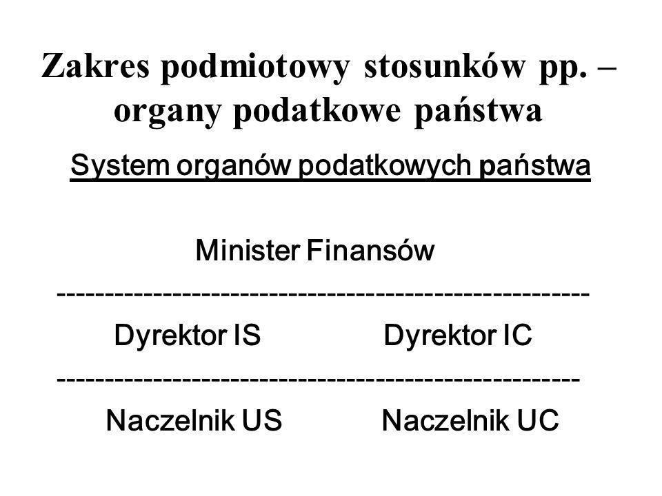 Zakres podmiotowy stosunków pp. – organy podatkowe państwa System organów podatkowych p aństwa Minister Finansów -------------------------------------