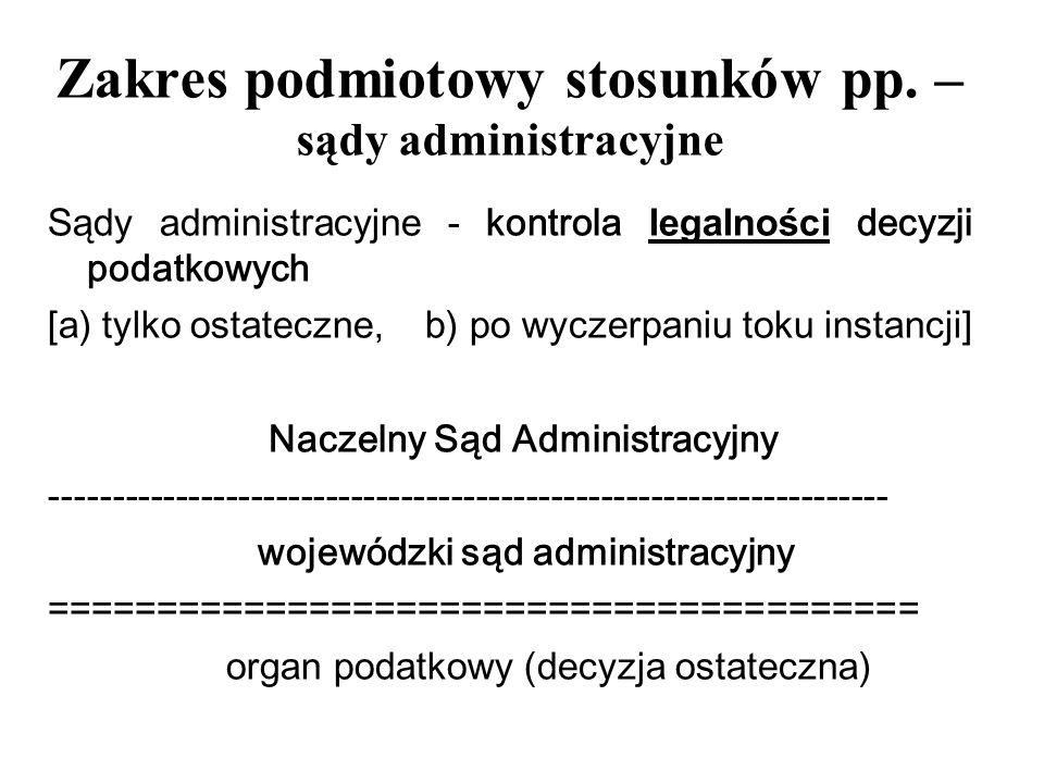Zakres podmiotowy stosunków pp. – sądy administracyjne Sądy administracyjne - kontrola legalności decyzji podatkowych [a) tylko ostateczne, b) po wycz