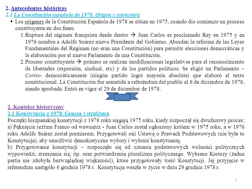 Estructura La Constitución española ordena jurídicamente el Estado español de la siguiente forma:  Preámbulo.