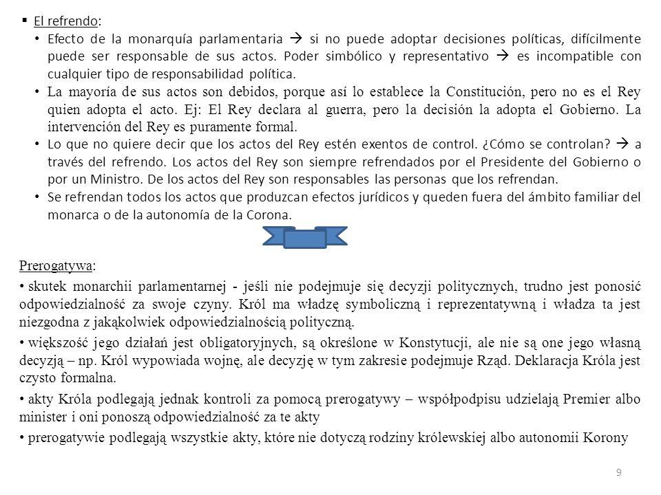 Funciones  Las que le atribuye la Constitución  ej: sanción (firma) de las Leyes.