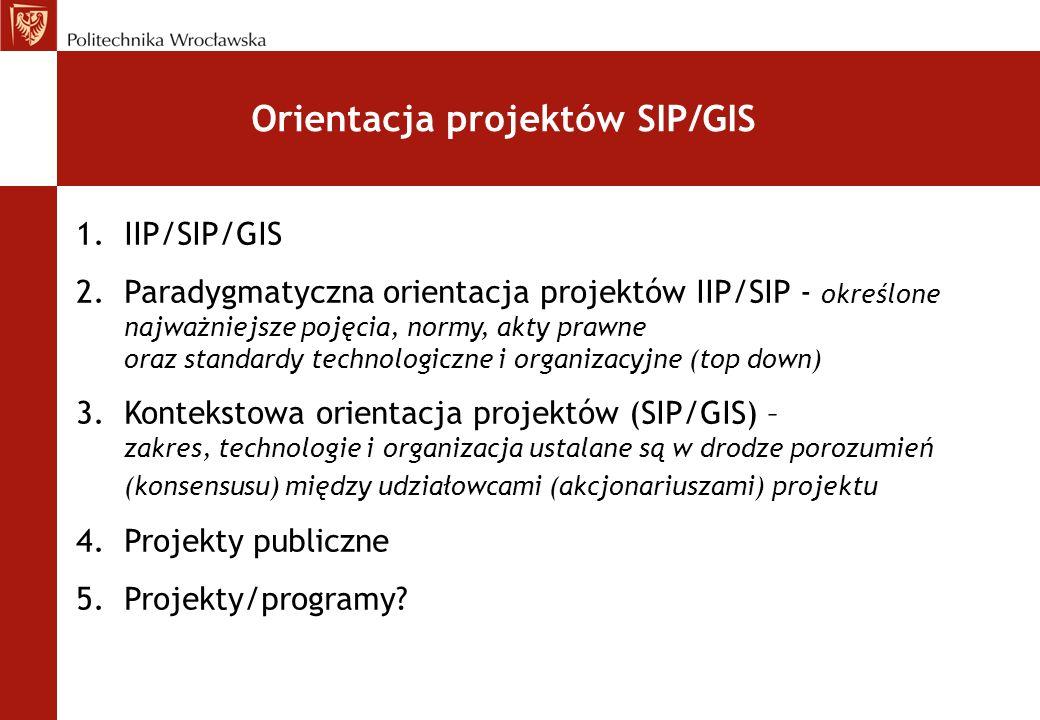 Orientacja projektów SIP/GIS 1.IIP/SIP/GIS 2.Paradygmatyczna orientacja projektów IIP/SIP - określone najważniejsze pojęcia, normy, akty prawne oraz s