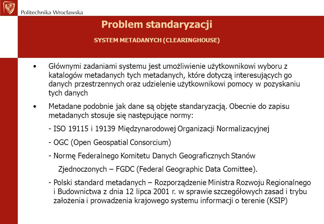 Problem standaryzacji SYSTEM METADANYCH (CLEARINGHOUSE) Głównymi zadaniami systemu jest umożliwienie użytkownikowi wyboru z katalogów metadanych tych