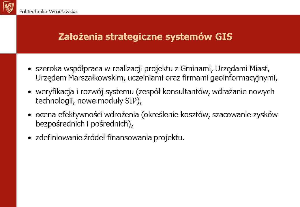 Założenia strategiczne systemów GIS szeroka współpraca w realizacji projektu z Gminami, Urzędami Miast, Urzędem Marszałkowskim, uczelniami oraz firmam