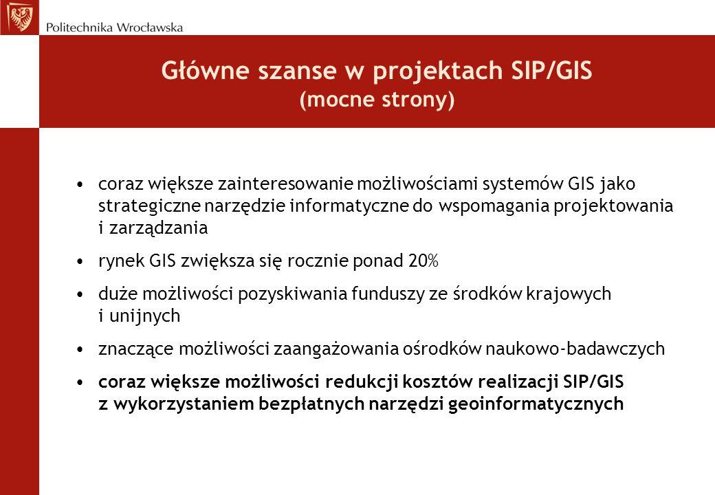 Główne szanse w projektach SIP/GIS (mocne strony) coraz większe zainteresowanie możliwościami systemów GIS jako strategiczne narzędzie informatyczne d