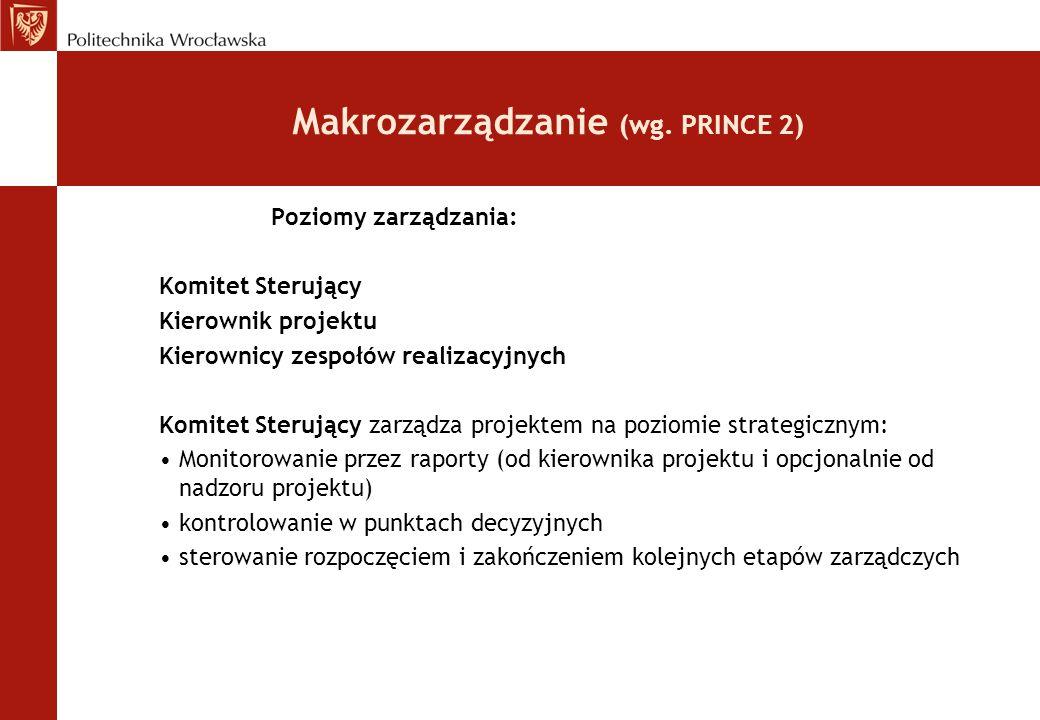 Makrozarządzanie (wg. PRINCE 2) Poziomy zarządzania: Komitet Sterujący Kierownik projektu Kierownicy zespołów realizacyjnych Komitet Sterujący zarządz