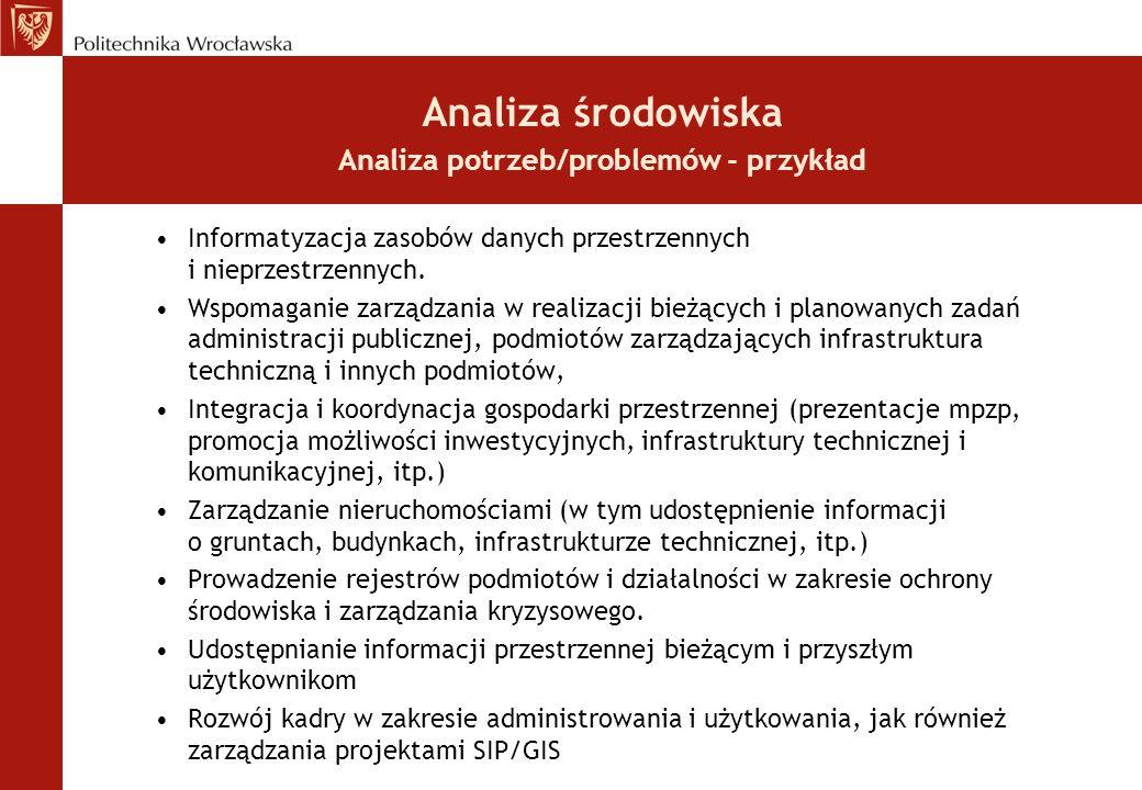 Analiza środowiska Analiza potrzeb/problemów - przykład Informatyzacja zasobów danych przestrzennych i nieprzestrzennych. Wspomaganie zarządzania w re