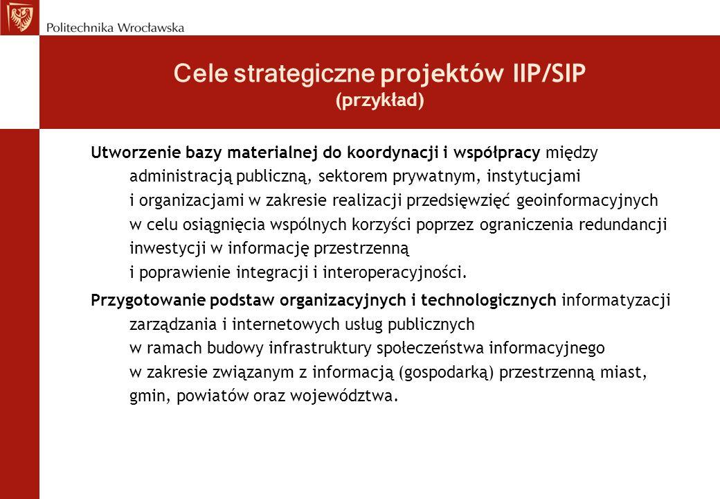 Cele strategiczne projektów IIP/SIP (przykład) Utworzenie bazy materialnej do koordynacji i współpracy między administracją publiczną, sektorem prywat