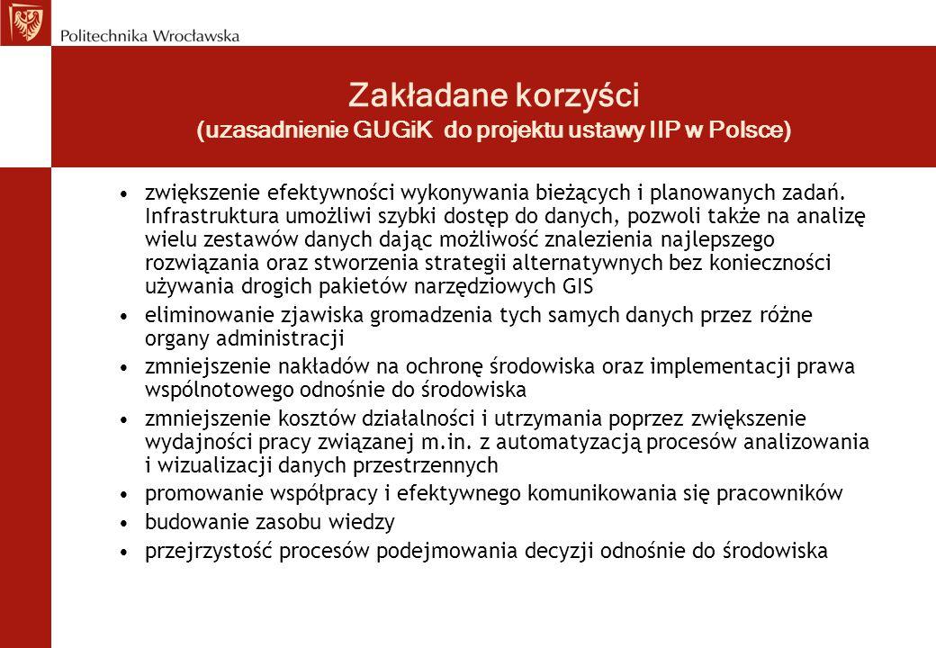 Zakładane korzyści (uzasadnienie GUGiK do projektu ustawy IIP w Polsce) zwiększenie efektywności wykonywania bieżących i planowanych zadań. Infrastruk