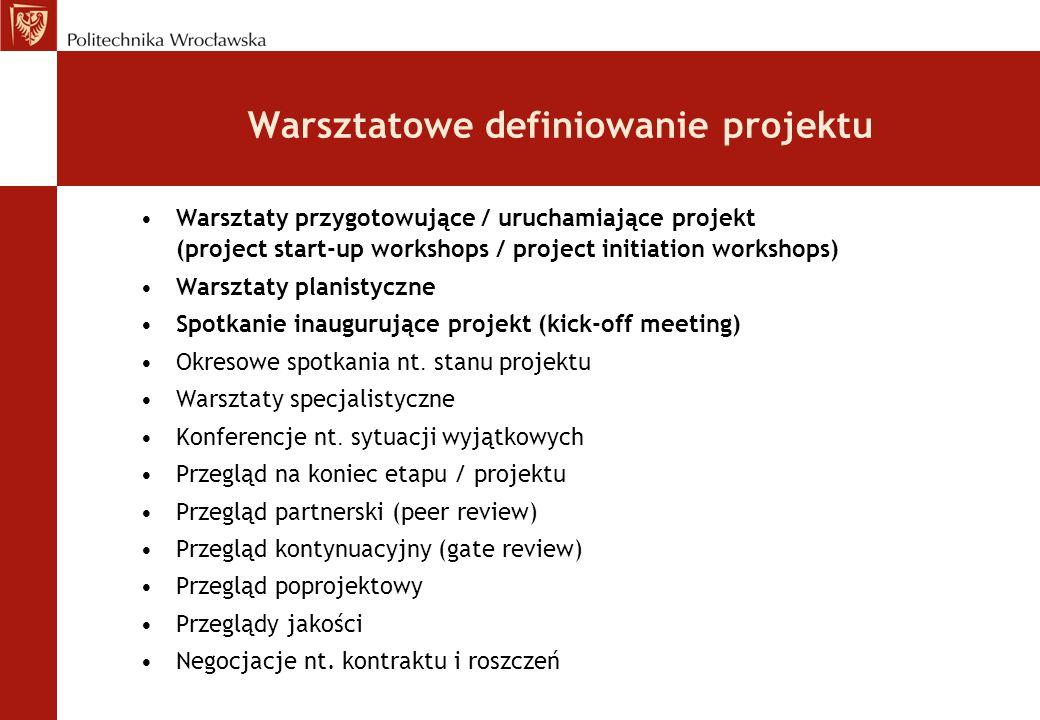 Warsztatowe definiowanie projektu Warsztaty przygotowujące / uruchamiające projekt (project start-up workshops / project initiation workshops) Warszta