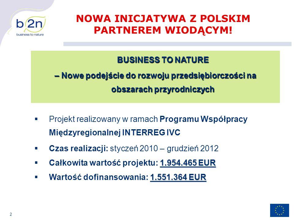 2 BUSINESS TO NATURE – Nowe podejście do rozwoju przedsiębiorczości na obszarach przyrodniczych NOWA INICJATYWA Z POLSKIM PARTNEREM WIODĄCYM.