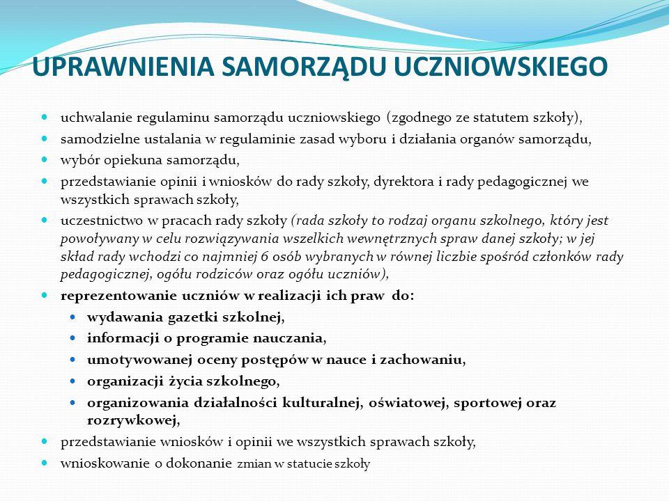 UPRAWNIENIA SAMORZĄDU UCZNIOWSKIEGO uchwalanie regulaminu samorządu uczniowskiego (zgodnego ze statutem szkoły), samodzielne ustalania w regulaminie z