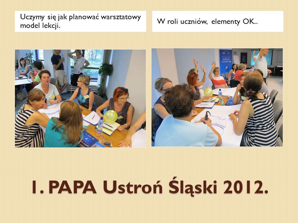 1. PAPA Ustroń Śląski 2012. Uczymy się jak planować warsztatowy model lekcji. W roli uczniów, elementy OK..