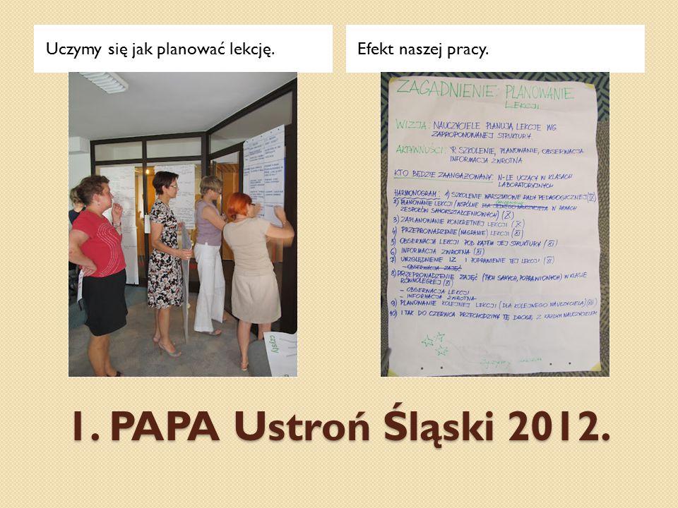 1. PAPA Ustroń Śląski 2012. Uczymy się jak planować lekcję.Efekt naszej pracy.