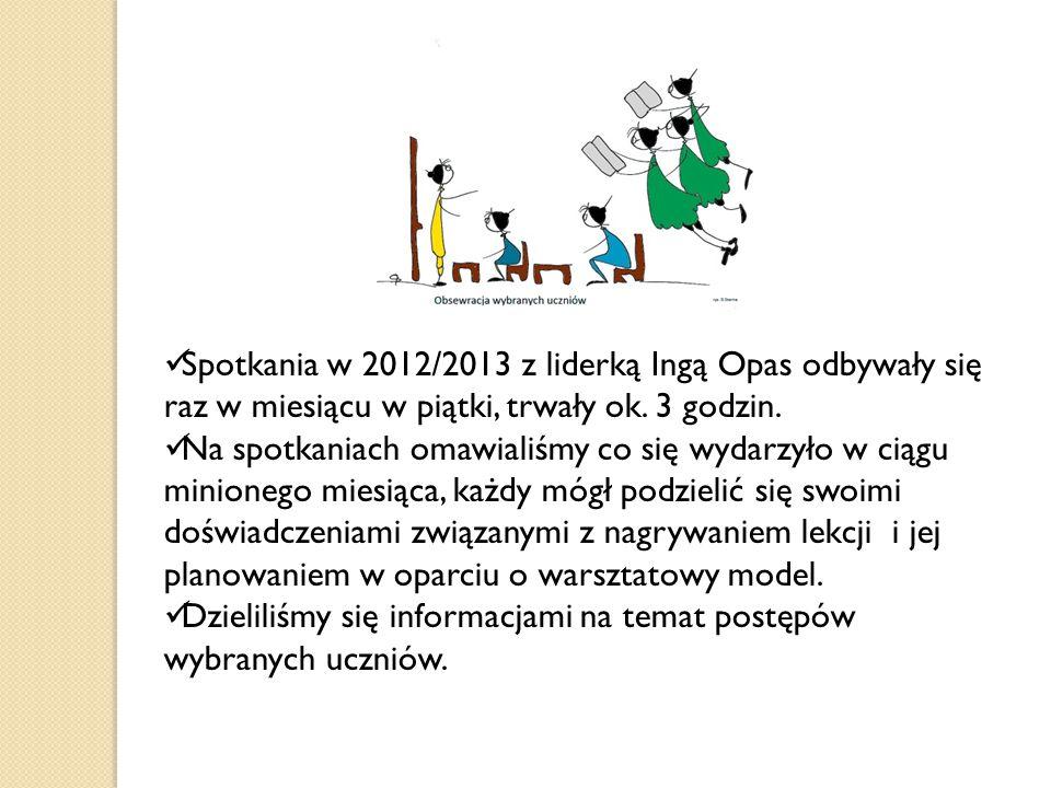 Spotkania w 2012/2013 z liderką Ingą Opas odbywały się raz w miesiącu w piątki, trwały ok. 3 godzin. Na spotkaniach omawialiśmy co się wydarzyło w cią