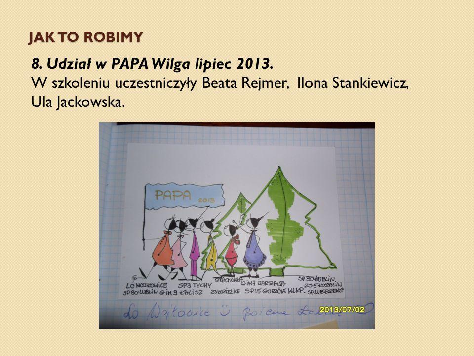 JAK TO ROBIMY 8. Udział w PAPA Wilga lipiec 2013. W szkoleniu uczestniczyły Beata Rejmer, Ilona Stankiewicz, Ula Jackowska.
