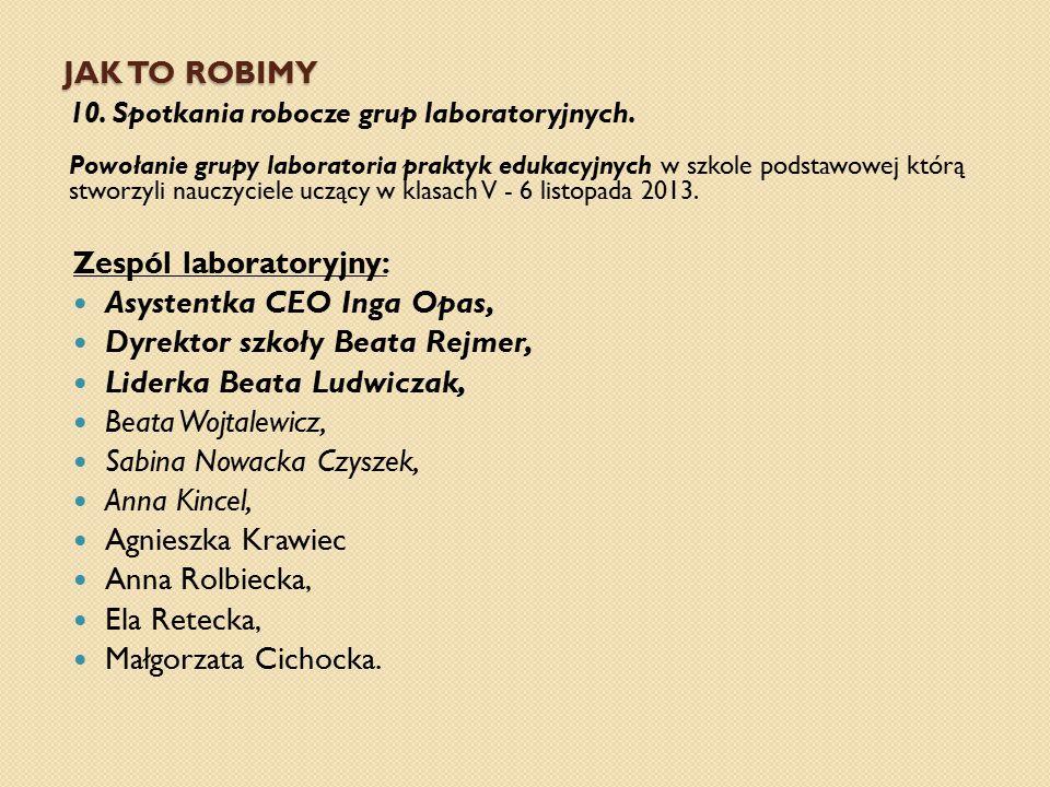 JAK TO ROBIMY 10. Spotkania robocze grup laboratoryjnych. Powołanie grupy laboratoria praktyk edukacyjnych w szkole podstawowej którą stworzyli nauczy