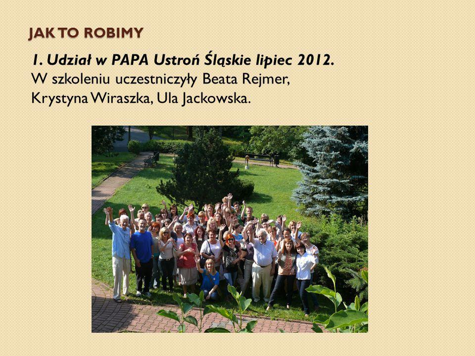 JAK TO ROBIMY 1. Udział w PAPA Ustroń Śląskie lipiec 2012. W szkoleniu uczestniczyły Beata Rejmer, Krystyna Wiraszka, Ula Jackowska.