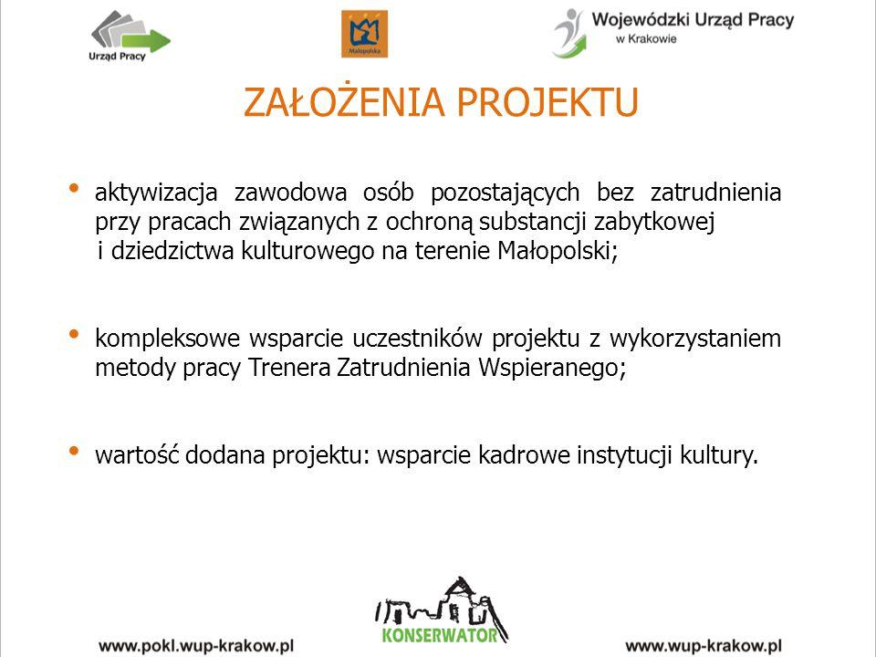 ZAŁOŻENIA PROJEKTU aktywizacja zawodowa osób pozostających bez zatrudnienia przy pracach związanych z ochroną substancji zabytkowej i dziedzictwa kulturowego na terenie Małopolski; kompleksowe wsparcie uczestników projektu z wykorzystaniem metody pracy Trenera Zatrudnienia Wspieranego; wartość dodana projektu: wsparcie kadrowe instytucji kultury.