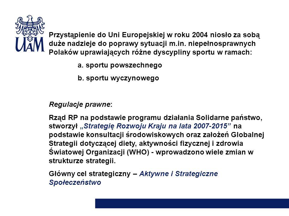 Przystąpienie do Uni Europejskiej w roku 2004 niosło za sobą duże nadzieje do poprawy sytuacji m.in. niepełnosprawnych Polaków uprawiających różne dys
