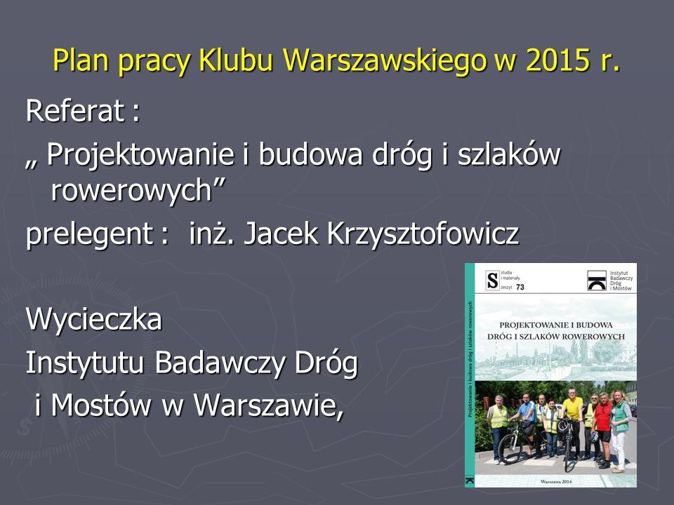 Plan pracy Klubu Warszawskiego w 2015 r.
