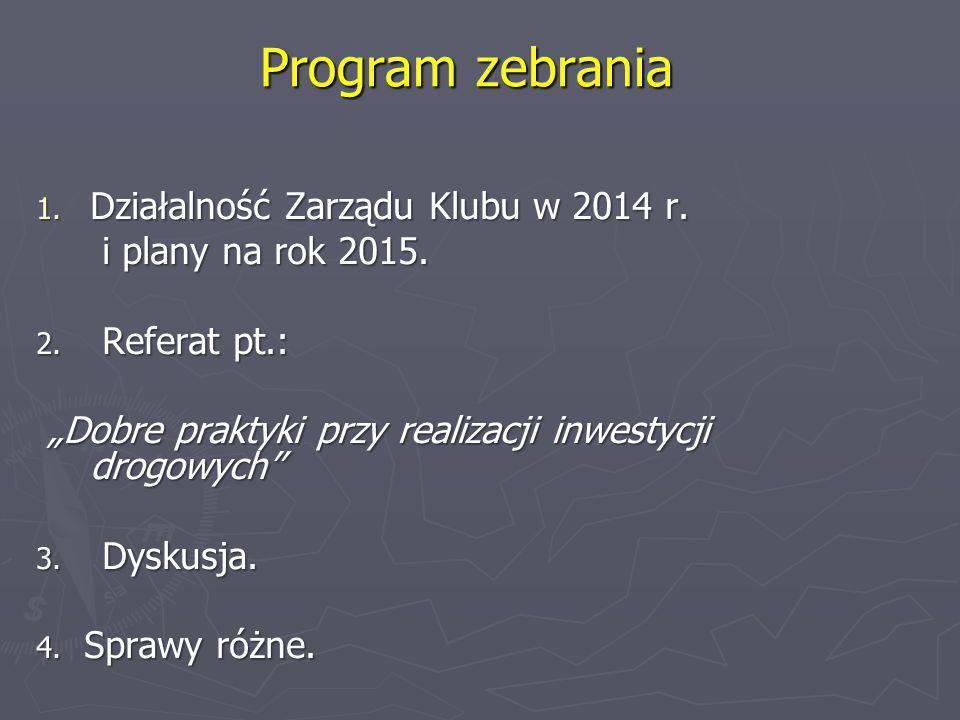 Program zebrania 1.Działalność Zarządu Klubu w 2014 r.