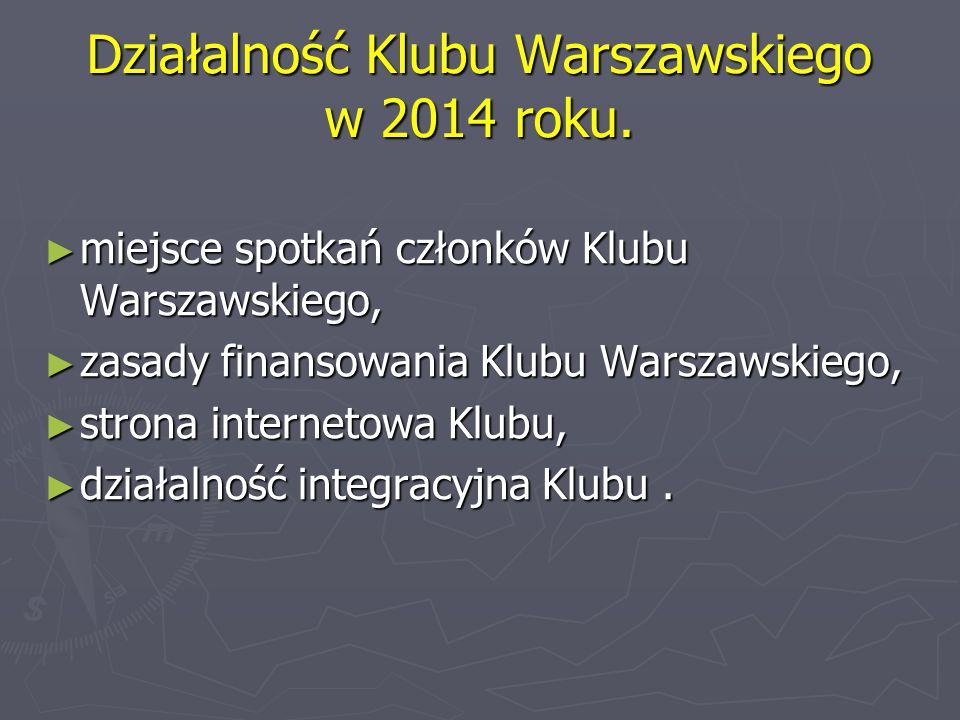 Działalność Klubu Warszawskiego w 2014 roku.