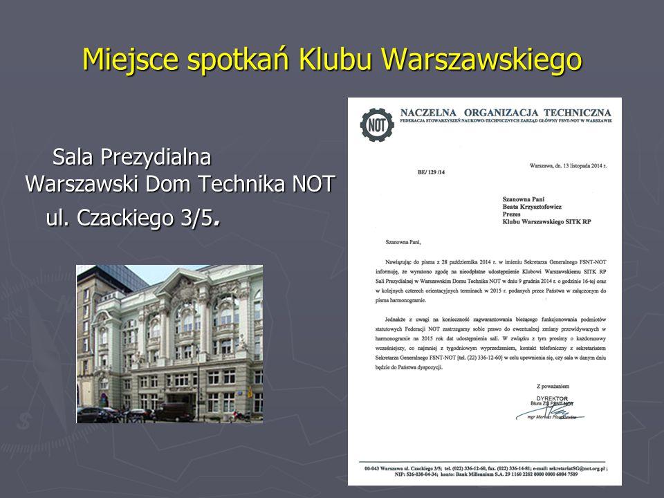 Miejsce spotkań Klubu Warszawskiego Sala Prezydialna Sala Prezydialna Warszawski Dom Technika NOT ul.