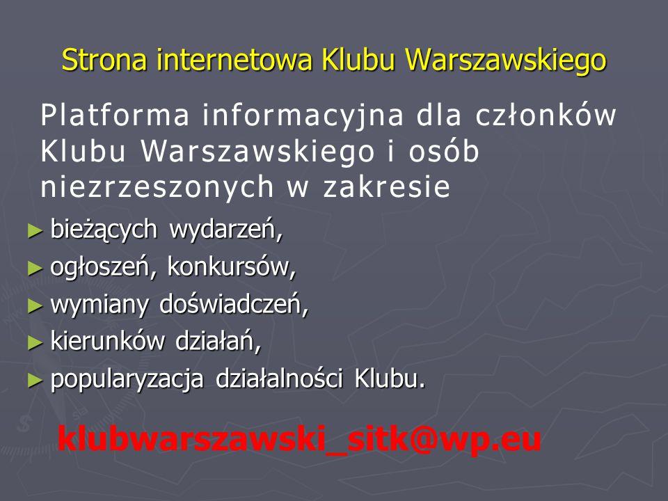 Strona internetowa Klubu Warszawskiego ► bieżących wydarzeń, ► ogłoszeń, konkursów, ► wymiany doświadczeń, ► kierunków działań, ► popularyzacja działalności Klubu.